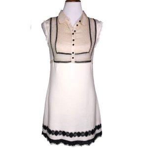 Free People Knit Ivory and Black Mini Tunic Dress